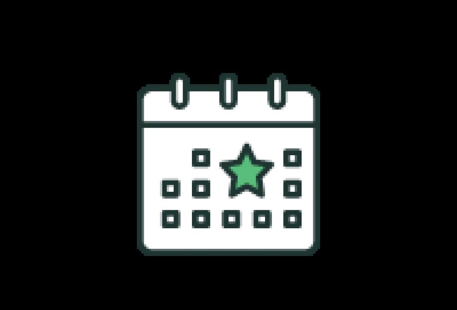 Piktogramm: Ein Kalender mit einem Stern über einen Datum
