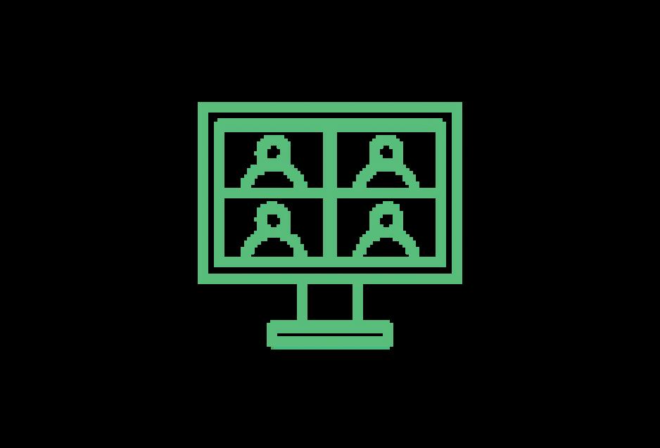 Piktogramm: 4 Personen auf einem Bildschirm wie in einem Zoomcall