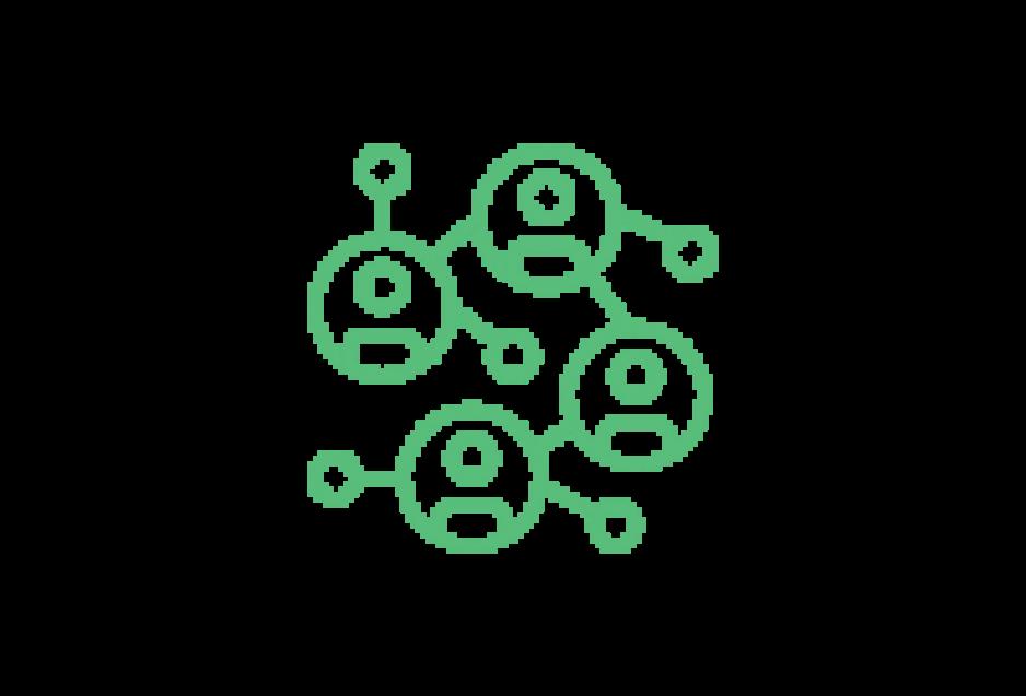 Piktogramm: Personen sind durch Linien miteinander vernetzt